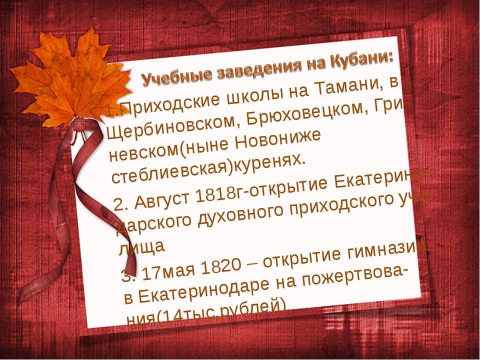 1.Приходские школы на Тамани, в Щербиновском, Брюховецком, Гри- невском(ныне...