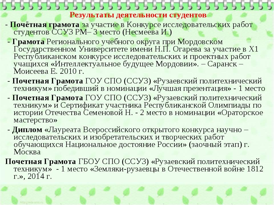 Результаты деятельности студентов - Почётная грамота за участие в Конкурсе ис...