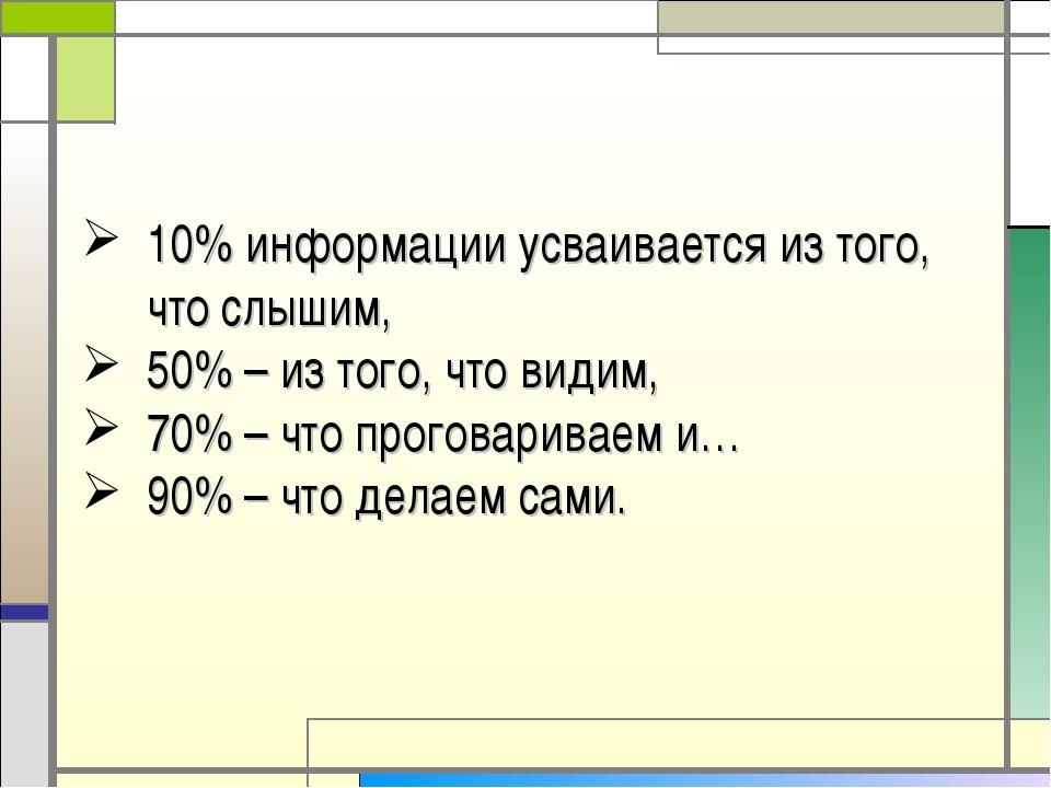 10% информации усваивается из того, что слышим, 50% – из того, что видим, 70%...