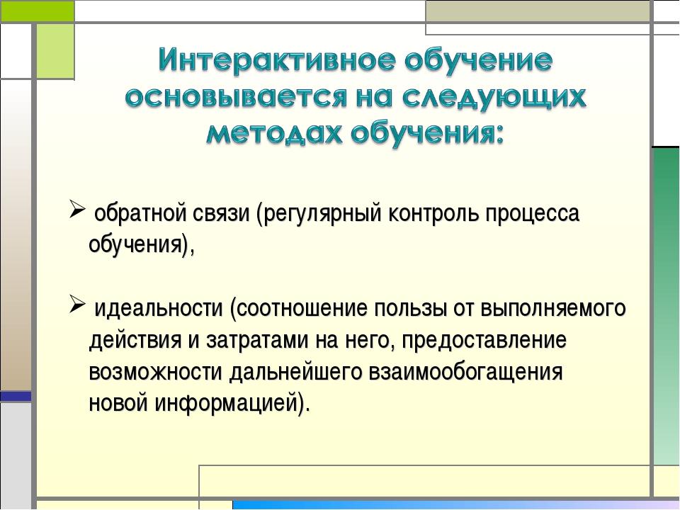 обратной связи (регулярный контроль процесса обучения), идеальности (соотнош...