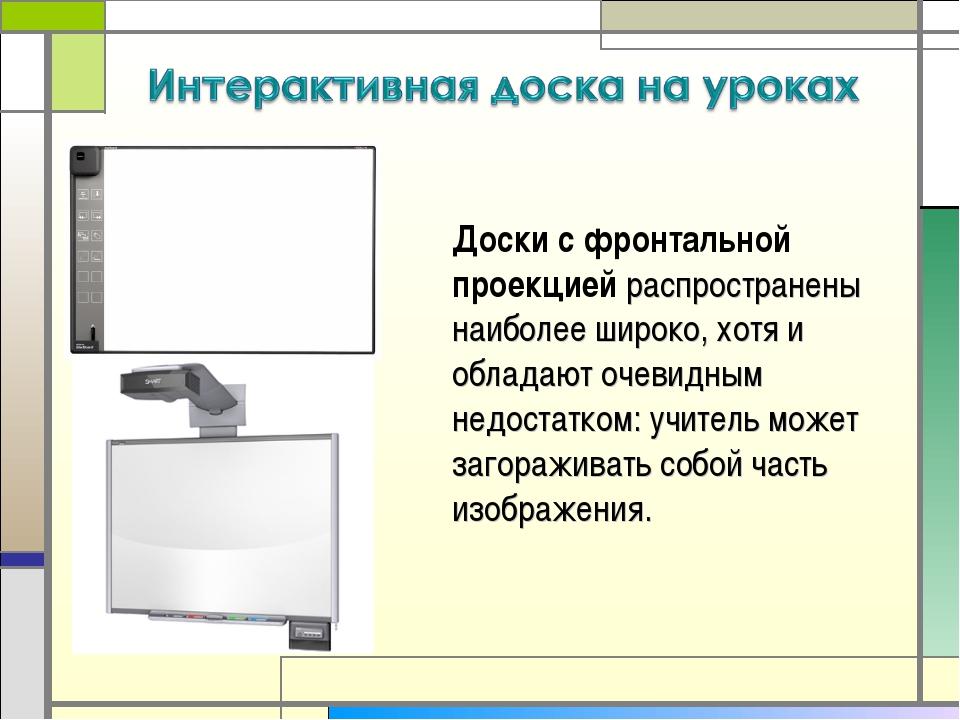 Доски с фронтальной проекцией распространены наиболее широко, хотя и обладают...