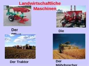 Landwirtschaftliche Maschinen Der Pflug Die Sämaschine Der Traktor Der Mähdre