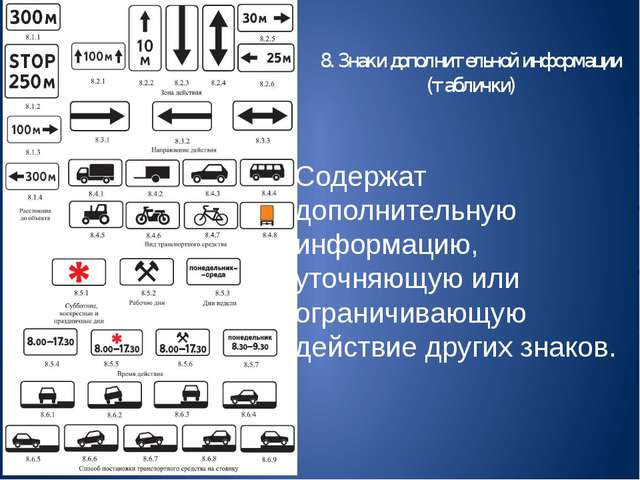 8. Знаки дополнительной информации (таблички) Содержат дополнительную информа...