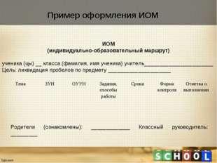ИОМ (индивидуально-образовательный маршрут)  ученика (цы) __ класса (фамилия