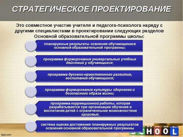 СТРАТЕГИЧЕСКОЕ ПРОЕКТИРОВАНИЕ Это совместное участие учителя и педагога-психо...