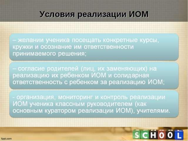 Условия реализации ИОМ