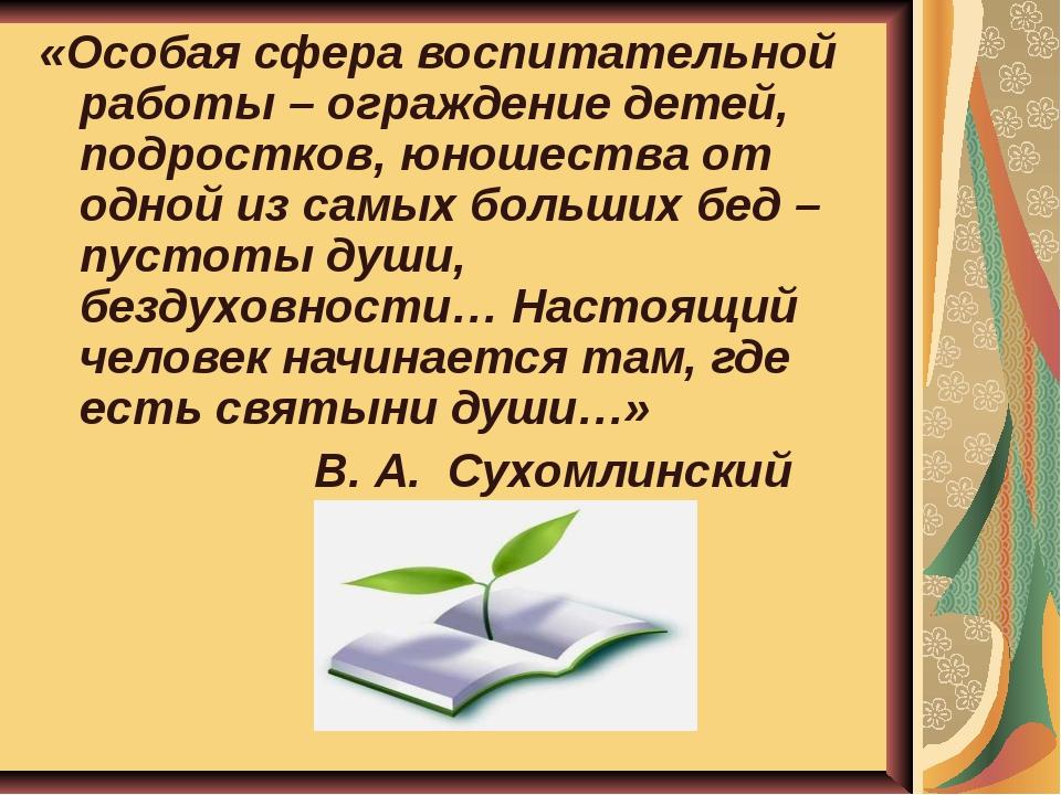 «Особая сфера воспитательной работы – ограждение детей, подростков, юношества...
