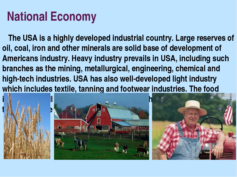 National Economy The USA is a highly developed industrial country. Large res...