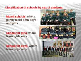 Classification of schools by sex of students: Mixed schools, where jointly le