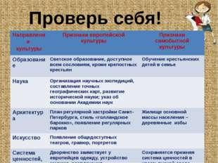 Проверь себя! Направления культуры Признаки европейской культуры Признаки сам