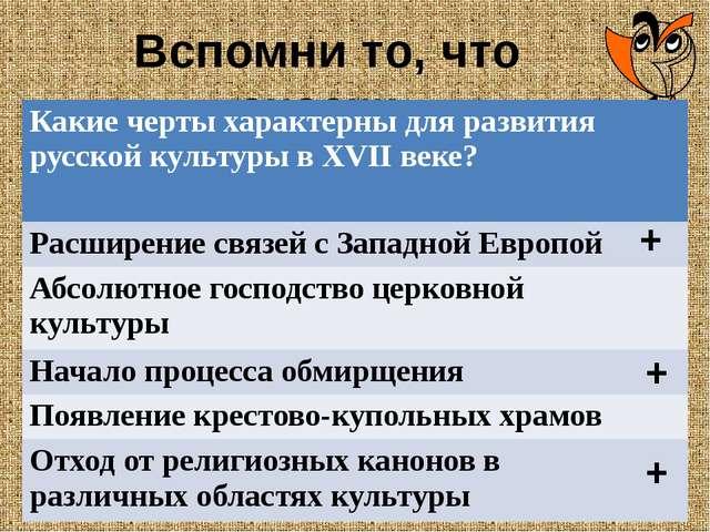 Вспомни то, что знаешь + + + Какие черты характерны для развития русской куль...