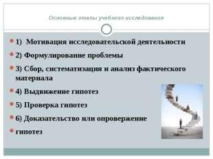 Основные этапы учебного исследования 1) Мотивация исследовательской деятельн
