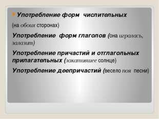 Употребление форм числительных (на обоих сторонах) Употребление форм глаголо