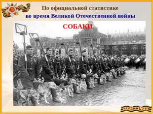 По официальной статистике во время Великой Отечественной войны СОБАКИ вытащи