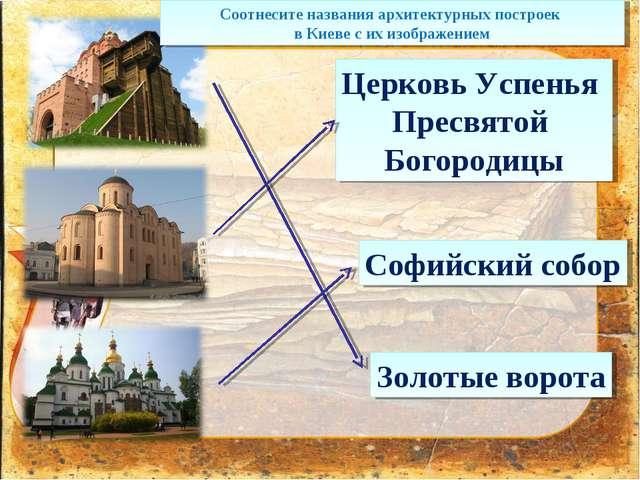 Софийский собор Золотые ворота Церковь Успенья Пресвятой Богородицы Соотнесит...