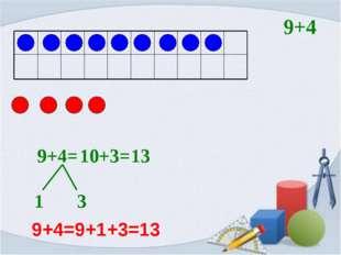 9+4= 1 3 10+3= 13 9+4 9+4=9+1+3=13