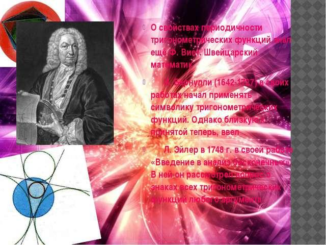 О свойствах периодичности тригонометрических функций знал ещё Ф. Виет. Швейца...