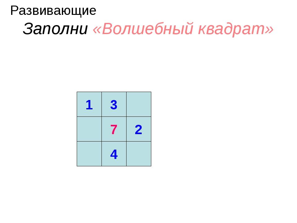 Заполни «Волшебный квадрат» 1 3 7 2 4 Развивающие
