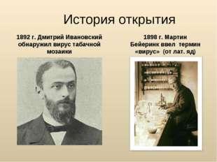 История открытия 1892 г. Дмитрий Ивановский обнаружил вирус табачной мозаики