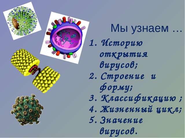 Мы узнаем … 1. Историю открытия вирусов; 2. Строение и форму; 3. Классификаци...