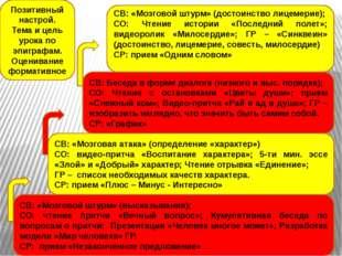 СВ: «Мозговой штурм» (высказывания); СО: чтение притчи «Вечный вопрос»; Куму