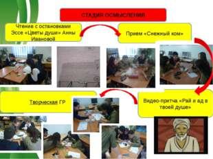 СТАДИЯ ОСМЫСЛЕНИЯ Чтение с остановками Эссе «Цветы души» Анны Ивановой Прием