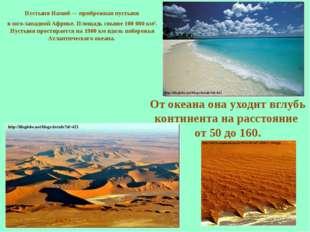 Пустыня Намиб— прибрежная пустыня в юго-западной Африке. Площадь свыше 100 0