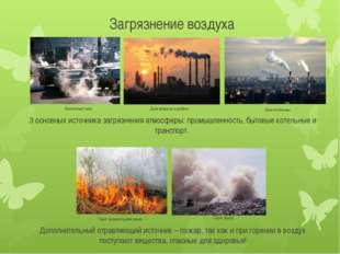 Загрязнение воздуха  Выхлопные газы Дым заводов и фабрик Горит мусор Горит п
