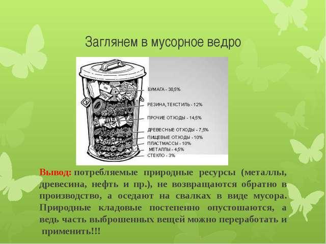 Заглянем в мусорное ведро Вывод:потребляемые природные ресурсы (металлы, дре...