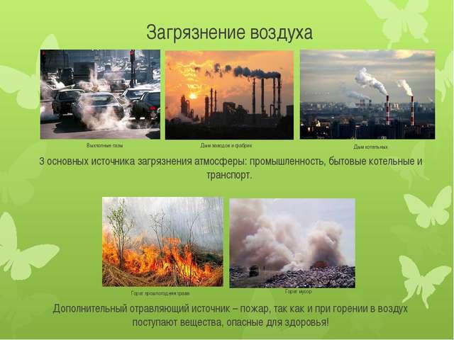Загрязнение воздуха  Выхлопные газы Дым заводов и фабрик Горит мусор Горит п...