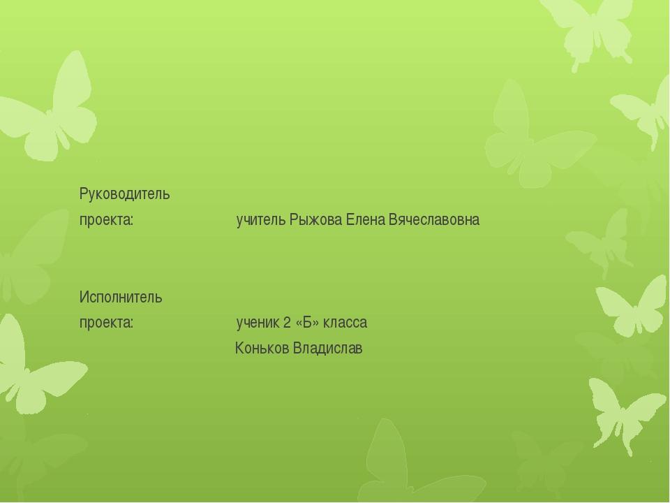 Руководитель проекта: учитель Рыжова Елена Вячеславовна Исполнитель проекта:...