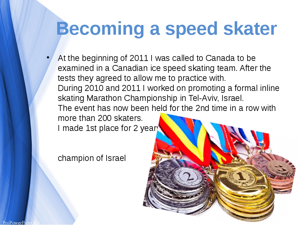 Becoming a speed skater At the beginning of 2011 I was called to Canada to be...