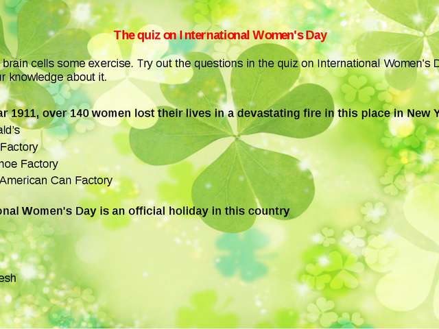 The quiz on International Women's Day Give your brain cells some exercise. T...