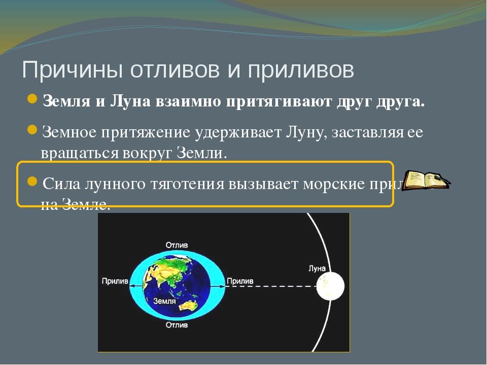 Причины отливов и приливов Земля и Луна взаимно притягивают друг друга. Земно...