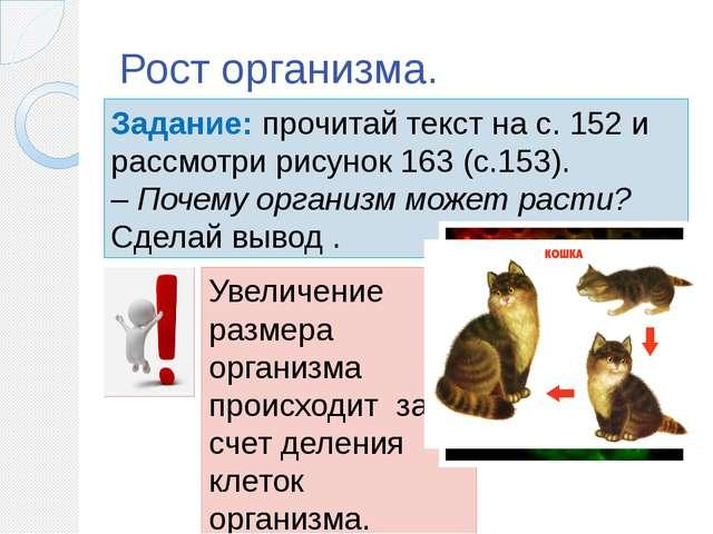 Рост организма. Задание: прочитай текст на с. 152 и рассмотри рисунок 163 (с....