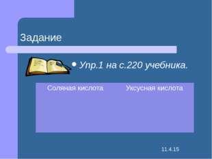 Задание Упр.1 на с.220 учебника. Соляная кислота Уксусная кислота