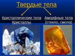 Твердые тела Кристаллические тела Кристаллы Аморфные тела (стекло, смола)