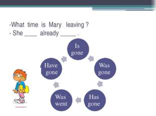 -What time is Mary leaving ? - She ____ already _____ .