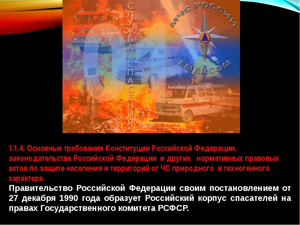 1.1.4. Основные требования Конституции Российской Федерации, законодательства...