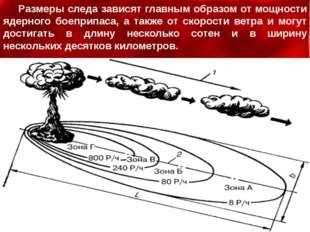 Размеры следа зависят главным образом от мощности ядерного боеприпаса, а такж
