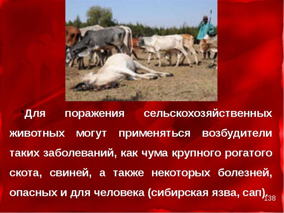 Для поражения сельскохозяйственных животных могут применяться возбудители та...