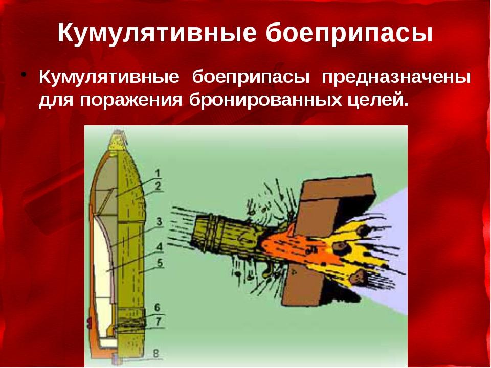 Кумулятивные боеприпасы Кумулятивные боеприпасы предназначены для поражения б...