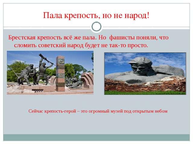 Пала крепость, но не народ! Брестская крепость всё же пала. Но фашисты поняли...