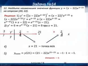 Задача №14 3) x y′ y 20 [ 22 ] 21 • 4) 5) Антонова Г.В. http://linda6035.ucoz