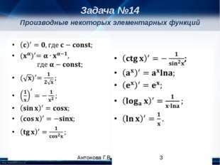 Производные некоторых элементарных функций Задача №14 Антонова Г.В. http://li