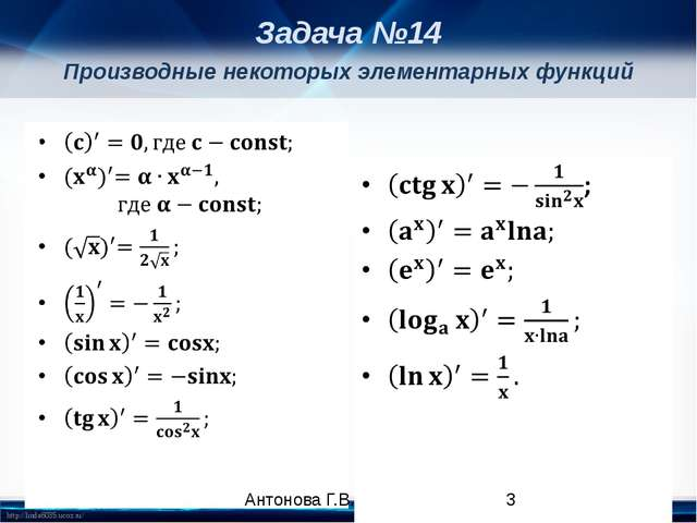 Производные некоторых элементарных функций Задача №14 Антонова Г.В. http://li...