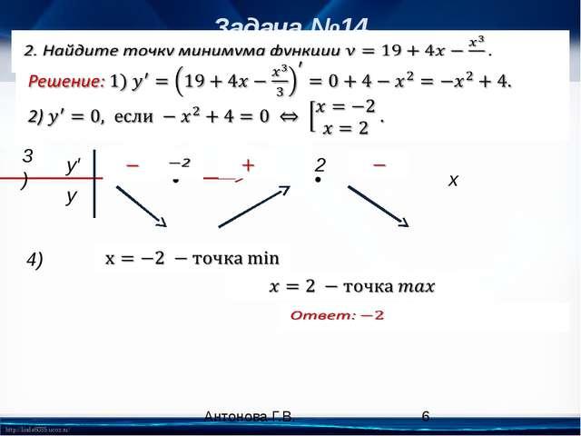 Задача №14 4) x • • 3) y′ y 2 Антонова Г.В. http://linda6035.ucoz.ru/