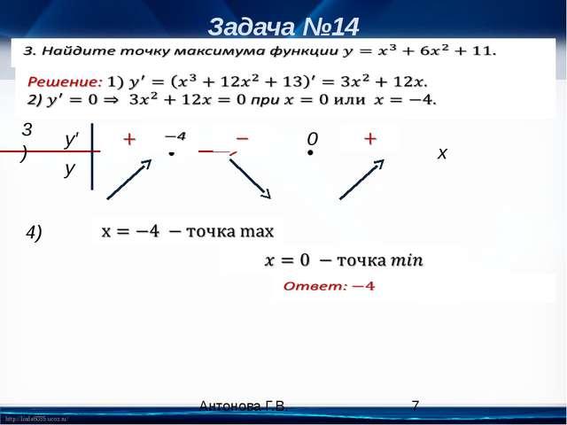 Задача №14 x • • 3) y′ y 0 4) Антонова Г.В. http://linda6035.ucoz.ru/