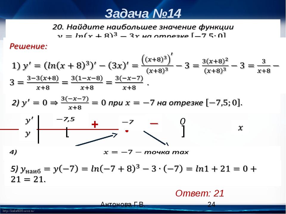 Задача №14 Ответ: 21 [ ] 0 • + Антонова Г.В. 3) http://linda6035.ucoz.ru/