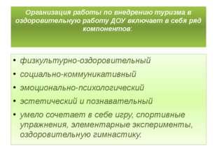 Организация работы по внедрению туризма в оздоровительную работу ДОУ включает